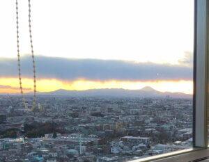 練馬展望レストランからの燃えるような富士山展望